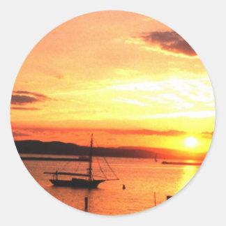 Champlainの日没 ラウンドシール