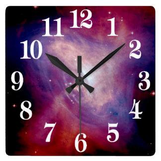 Chandraの蟹星雲NASA スクエア壁時計