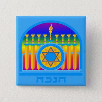 Chanuka Maccabeeの剣の(ユダヤ教)メノラーPin 5.1cm 正方形バッジ