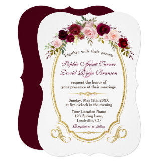 Charming Burgundy Marsala Floral Fall Wedding カード