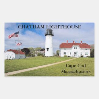 Chathamの灯台、ケープコッドマサチューセッツ 長方形シール