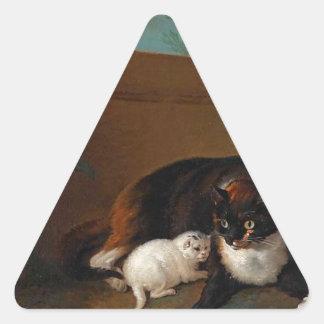 Chatteとchaton、とChienとperroque 三角形シール
