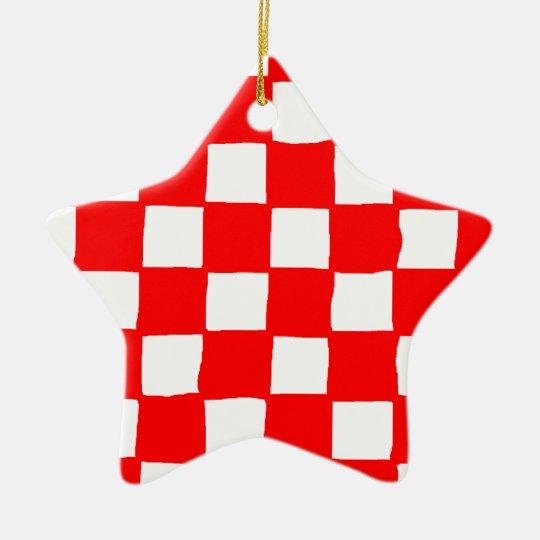 checkered pattern (red) セラミックオーナメント