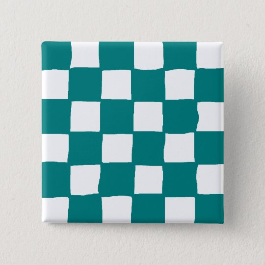 checkered pattern (teal) 缶バッジ