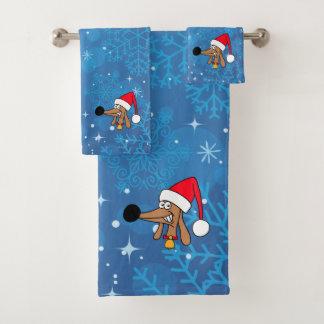 Cheeky Dachshund Christmas Bathroom Towel Set バスタオルセット