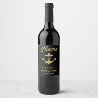Cheers Nautical Wedding Gold and Black Wine Labels ワインラベル