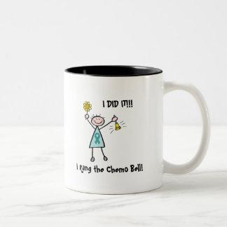 Chemo鐘-卵巣癌のティール(緑がかった色)のリボン ツートーンマグカップ
