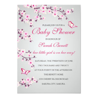 Cherry Blossoms Baby Shower Invitation Card カード