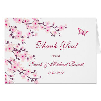 Cherry Blossoms Floral Wedding Thank You カード