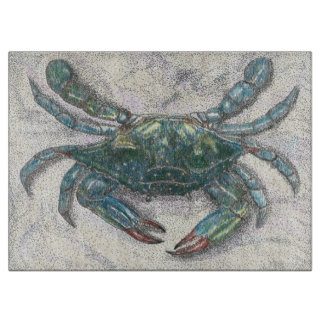 Chesapeake Bay Blue Crab Glass Cutting Board カッティングボード