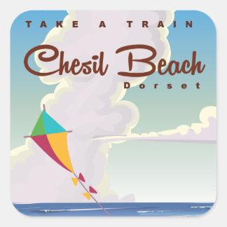 Chesilのビーチのドーセットのヴィンテージの漫画ポスター スクエアシール