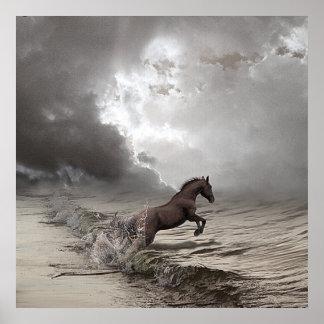 Cheval dans les vagues, Papier poster (mat) ポスター