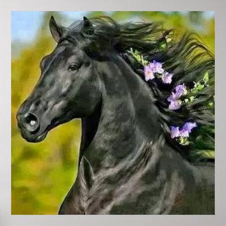 cheval noir crinière fleurie, Papier poster (mat) ポスター