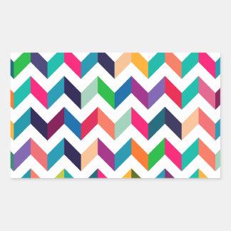Cheveronのジグザグ形、Vパターン。 タン、赤、黒、茶 長方形シール