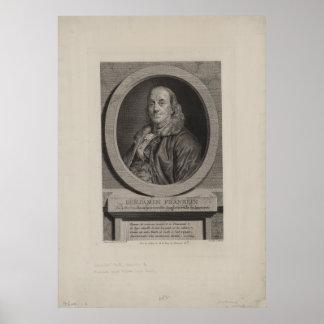 Chevillet著ベンジャミン・フランクリンの彫刻 ポスター