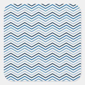 CHEVRON02青く白いジグザグパターンのテンプレートSHA スクエアシール