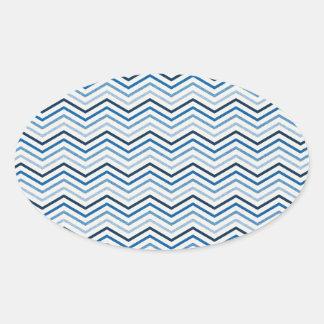 CHEVRON02青く白いジグザグパターンのテンプレートSHA 楕円形シール