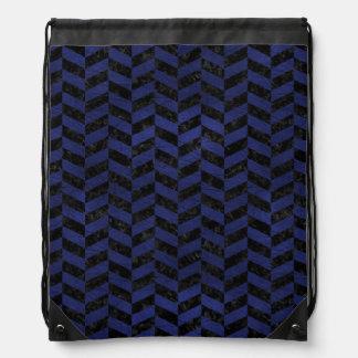 CHEVRON1黒い大理石及び青い革 ナップサック