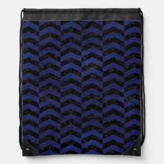 CHEVRON2黒い大理石及び青い革 ナップサック