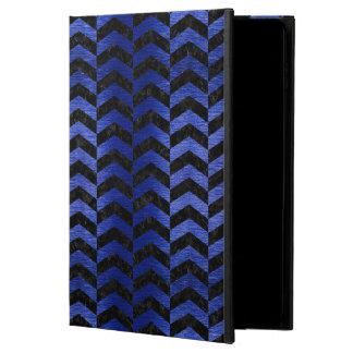 CHEVRON2黒い大理石及び青によってブラシをかけられる金属 POWIS iPad AIR 2 ケース