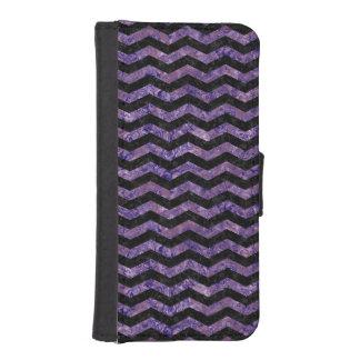 CHEVRON3黒い大理石及び紫色の大理石 iPhoneSE/5/5sウォレットケース