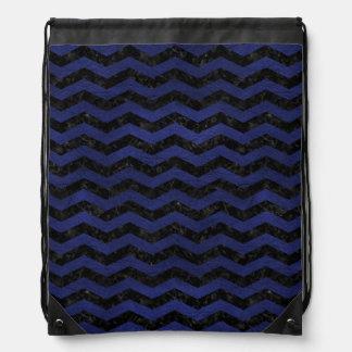 CHEVRON3黒い大理石及び青い革 ナップサック