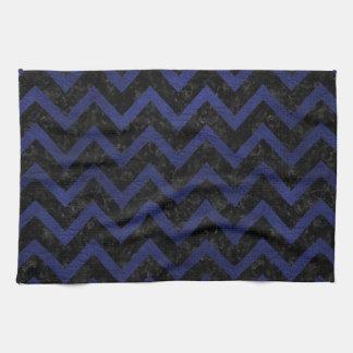 CHEVRON9黒い大理石及び青い革 キッチンタオル