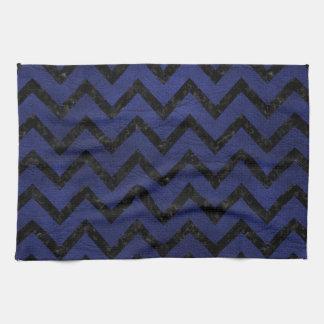 CHEVRON9黒い大理石及び青い革(R) キッチンタオル