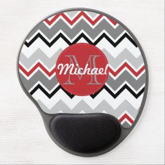 Chevron Red Grey Black Monogrammed Circle Stitches ジェルマウスパッド