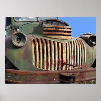 Chevyのグリル、金ゴールドの丘 ポスター
