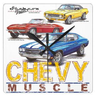 Chevy筋肉正方形の時計 スクエア壁時計