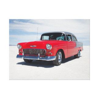 """chevy 1955は、通りの棒、""""三5"""" belair改造しました キャンバスプリント"""