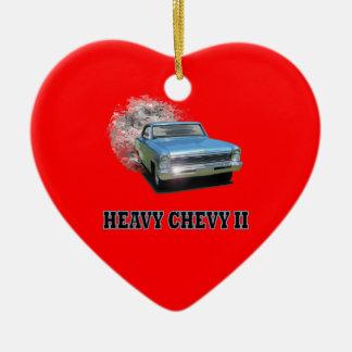 Chevy IIのドラッグの競争のデザインのハートのオーナメント セラミックオーナメント