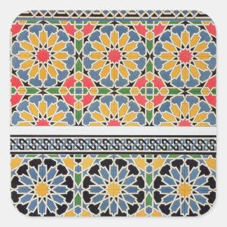 Cheykhのモスクのミフラーブからのタイルを囲んで下さい 正方形シールステッカー
