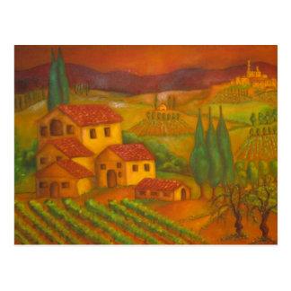 Chianti、イタリアのHilltown ポストカード