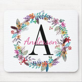Chic Aqua, Pink, and Blue Floral Wreath Monogram マウスパッド