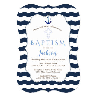 Chic Baptism Nautical Navy Waves Anchor Invite カード