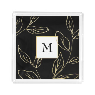 Chic Black and Faux Gold Botanical with Monogram アクリルトレー
