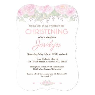 Chic Blush Rose Garden Floral Baptism Invite カード