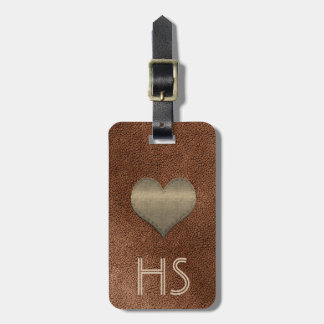 Chic Copper Look Gold Heart Add Initials Tag ラゲッジタグ