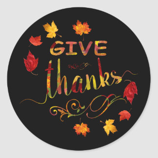 Chic Give Thanks Fall Rustic Thanksgiving Monogram ラウンドシール