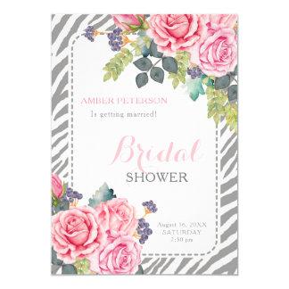 Chic Gray Zebra Print Pink Roses Bridal Shower カード