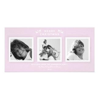 Chic Minimal Pale Pink Three Photo Merry Christmas カード