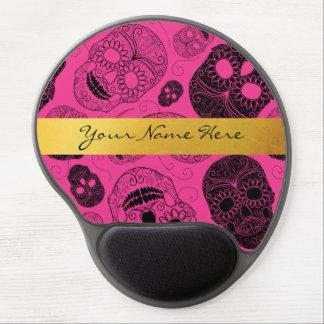 Chic Pink & Black Sugar Skulls with Gold Banner ジェルマウスパッド