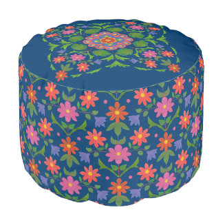 Chic Rangoli Flowers Polka Dots on Blue Round Pouf プーフ