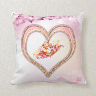 Chic Roses Heart Loving Polyester Throw Pillow クッション