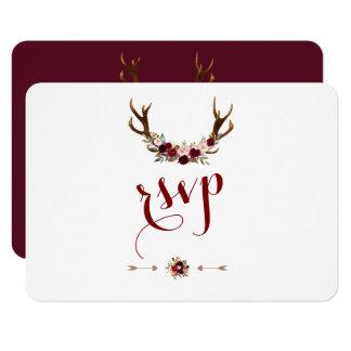 Chic Rustic Burgundy Marsala Floral Antlers RSVP カード