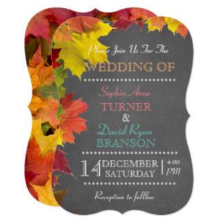 Chic Rustic Fall Leaves Chalkboard Wedding Invite 12.7 X 17.8 インビテーションカード