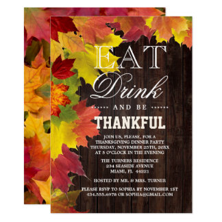 Chic Rustic Fall Old Wood Barn Thanksgiving Invite カード