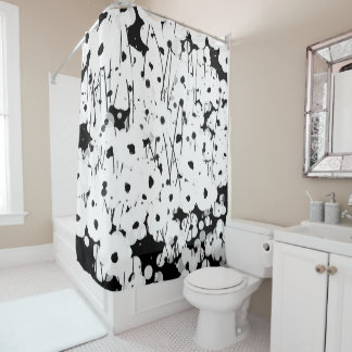 CHIC SHOWER CURTAIN_MODERN WHITE FLORAL シャワーカーテン